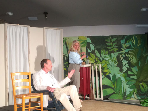 """At left, Christopher Morse as Lawrence Shannon, and Debbie Overman, as hotel manager Maxine Faulk, were among the stars of the Stratford Players' production of Tennessee Williams' """"Night of the Iguana"""" last weekend. Photo by Marshall Smith"""