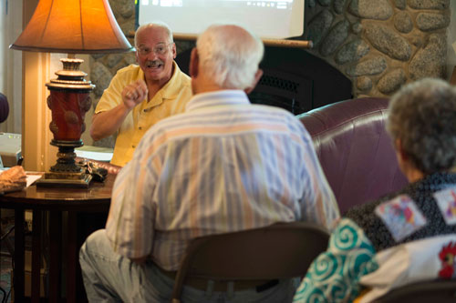 Keith Herron, a Riverside County preservation officer, spoke to property owners and the public about the Idyllwild Historic Preservation District and how it affects the town. The meeting was held at the Creekstone Inn on Sunday.  Photo by John Pacheco