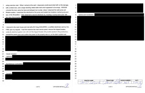 Pages extracted from the Mountain Fire report show the extent of Cal Fire's redactions. Courtesy of Cal Fire