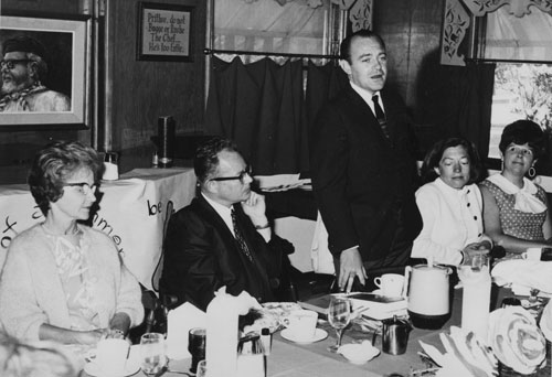 Idyllwild School staff welcomed the new principal at breakfast in June 1968 at the Chef in the Forest. From left, Emsy Dunn, outgoing president; Erwin Hagen, new principal; Dr. Robert Ferris, Hemet Unified School District superintendent; Mickey Regal, Town Crier reporter; and Martha Foster, teacher.                File photo