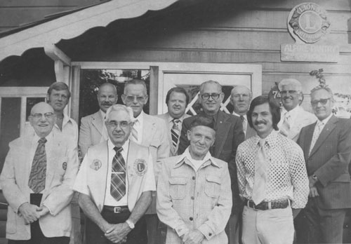Officers and directors of the Idyllwild Lions Club for 1977-78 were, front row, from left, Charlie Kretsinger, Nile Thomas, Milt Meyer and Jim Helland; back row, from left, Bob Thomas, Gene Price, Albert Austin, Gary Dencklau, Dick Miller, Nick Halic, installing officer Vern Boyer and Clyde Price. New president George Hoffman was not pictured. File photo