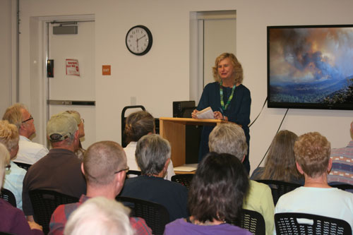 """MOUNTAIN FIRE STORIES: Katya Williamson facilitated """"The Mountain Fire – Writing by Idyllwild Area Residents,"""" on June 5, at the Idyllwild Library. The standing-room-only event featured a variety of readings including poetic, historic, humorous and conversational."""