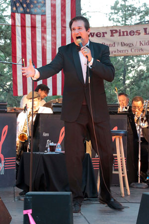 Rick Michel performs with Ken Dahleen's Big Band last Thursday night at the Idyllwild Community Center site. Michel performed hits from Sinatra and Cole Porter. Photo by Jenny Kirchner