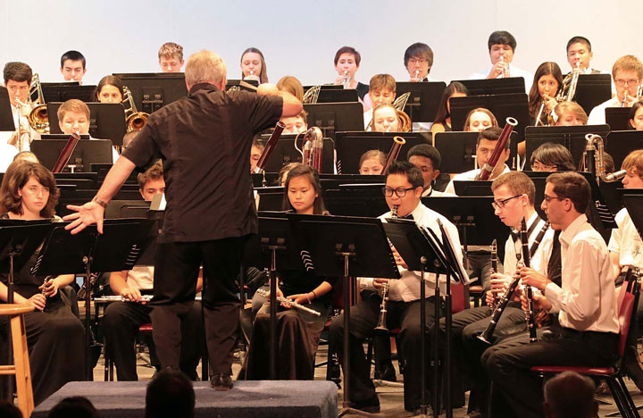 Last year at this time, Idyllwild was evacuated due to the Mountain Fire, and the Wind Ensemble performance wasn't able to happen. Many who were at Idyllwild Arts last year returned this year and performed Saturday afternoon to a standing-room-only crowd at the IAF Theatre.        Photo by Jenny Kirchner