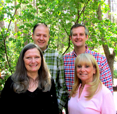 """The Art Alliance of Idyllwild elected four new board directors. Back row, from left, Marc Kassouf and Nathan DePetris, and front row, from left, Elizabeth Miller and Lesly Martin. Kassouf and DePetris co-chair the Membership Committee, Miller will oversee the Hospitality Committee and Martin will head Marketing and Public Relations.""""We are delighted to welcome each of these talented individuals to our community, organization and board,"""" said Gary Kuscher, AAI president. """"We welcome their new perspective and believe that their professional expertise will help AAI grow and achieve its mission of marketing Idyllwild as an arts destination and the work of its talented member artists."""" Photo courtesy AAI"""