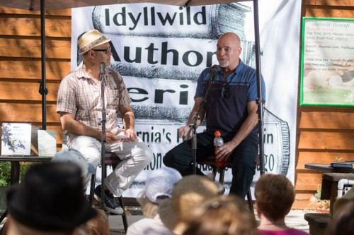 "Edwardo Santiago interviews Bernard Cooper about his book ""Guess Again"" at the Idyllwild Author Series event at Cafe Aroma last Sunday. Photo by John Pacheco"