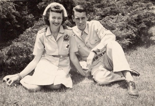Betty and Ernie Maxwell, pre-Town Crier days, when Ernie was in the Air Force. Photo courtesy Kenny Chapman