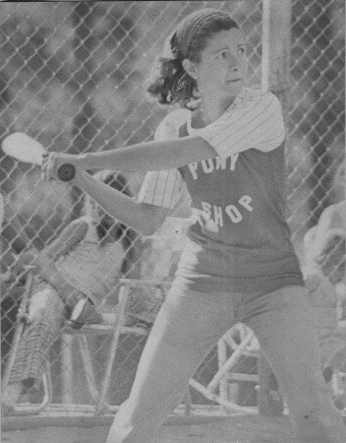 Doris Lombard was a study in concentration at bat during a softball game with the Pipe Wenches in July 1975. The Pony Shop won 10-3. File photo