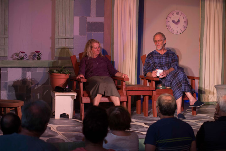 """Stratford Players Debbie Overman and Preston Sparks in a scene from the 2013 Tony Award-winning play """"Vanya and Sonia and Masha and Spike."""" The play runs weekends to Aug. 10.        Photo by John Pacheco"""