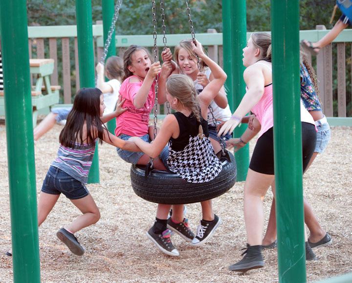 Children enjoy some time on the playground during last Thursday's Idyllwild Summer Concert. Photo by Jenny Kirchner