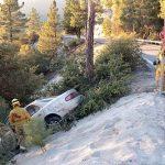 Car goes off highway, driver leaves scene