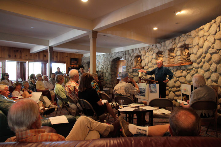 ANTHROPOLOGIST SPEAKS: Special Guest William Beachum Lee, Ph.D. speaks to the attendees at the Creekstone Inn during the annual Idyllwild Area Historical Society general meeting. With previous experiences as anthropologist, linguist, professor and researcher to producer, editor, cinematographer, diver and pilot, he has also been the director of three major museums, including the L.A. Natural History Museum.           Photo by John Drake