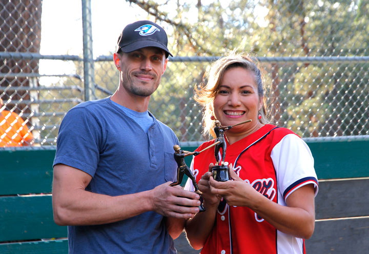 At left, Derek Ellingson is the male Player of the Year and Patti Perez is the female Player of the Year in Division 2. The Town Hall Adult Softball Division 2 awards were announced Monday evening before the first game of the Division 1 Championship Series. Photo by John Drake