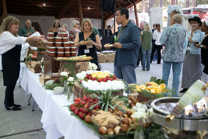 A large buffet table was set out for the Patrons Dinner Friday night at Idyllwild Arts. Photo by Jenny Kirchner