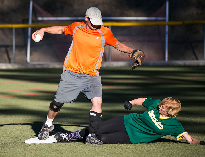 Idyllwild Arts' Ginger Dagnall slides into second base against Ridgeline Roofing in last week's softball game. Photo by Jenny Kirchner