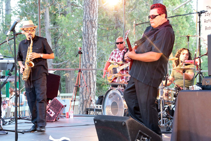 LATIN STYLING BRINGS CROWD GROOVING: Grupo Bohemio Santana Band was last week's headliner performing at the Idyllwild Summer Concert Series. Many came out to enjoy the beats and dance the night away.         Photo by Jenny Kirchner