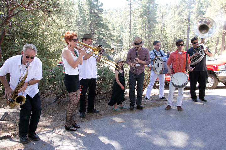 The Euphoria Brass Band from San Diego greeted people at the front gate Saturday morning as they entered the 21st-annual Jazz in the Pines festival. Photo by Jenny Kirchner