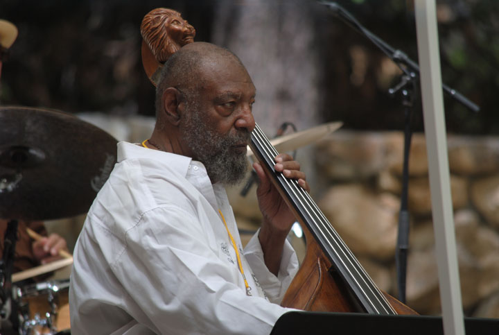 Henry Franklin plays the bass with clarinetist Evan Christopher on Saturday afternoon at the 21st Jazz in the Pines festival. On Sunday afternoon, Franklin performed as the Skipper and Crew playing John Coltrane and Ornette Coleman in Stephens Hall.	      Photo by J.P. Crumrine