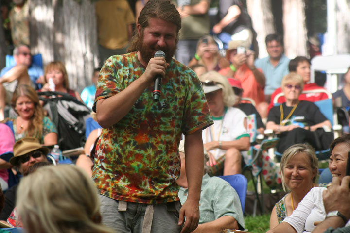 American Idol and Idyllwild Arts alumnus Casey Abrams gets up close to his audience at the Main Stage as the last entertainer of Jazz in the Pines Sunday. Photo by Jack Clark