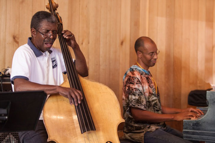 Marshall Hawkins on bass and Harry Pickens on piano in the Stephens Recital Hall last Sunday during Jazz in the Pines. Hawkins is the music director for the festival. Photo by Peter Szabadi