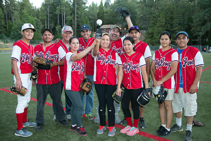 Above, the Town Hall Adult Division 2 Championship winning team is Patty Perez Cleaners. Members of the team in the front row (from left) are Sonia,Patty,Lupita andCandy Perez. Standing in the back (from left) are Kadem andJose Perez,Mike Murray,Edgar,Aurelio,Rene andHector Perez. Photo by Jenny Kirchner