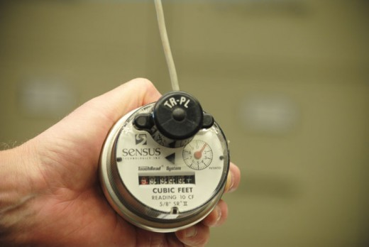 A Sensus water meter is used throughout Idyllwild Water District. Photo by Steve Erler