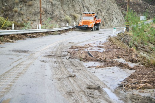 Sunday's wet storm brought mud and debris flooding onto Highway 74 near mile marker 49, completely shutting down the road in both directions for most of the afternoon. Caltrans and the California Highway Patrol were on scene to clean up and direct people to the quickest detour. Photo by Jenny Kirchner