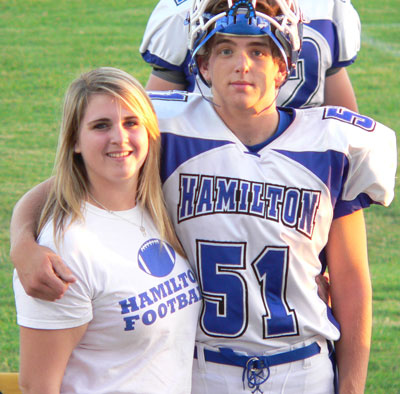 Brenna and Cole Campbell, the late Jimmy Campbell's children, attend Hamilton High School. Cole is on the varsity football team. Jimmy was a Town Hall recreation director.  Photo by Michael Vladika