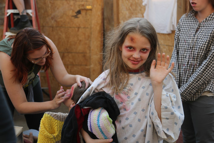 Nicola Sabin gets ready to scare Idyllwild Ghost Town Visitors.        Photo by Cheryl Base