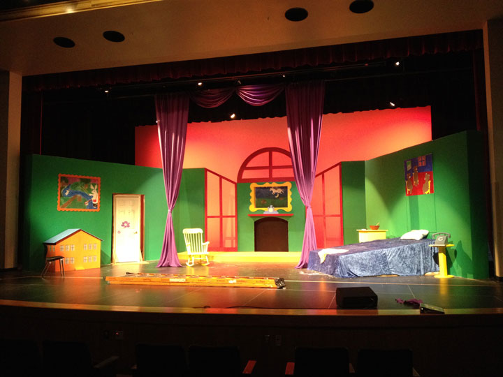 """Hemet High School Theatre Department is performing Margaret Wise-Brown's children's book, """"Goodnight Moon."""" The set is being completed for the first performance Thursday, Oct. 9.     Photo by Bret CherlanD"""