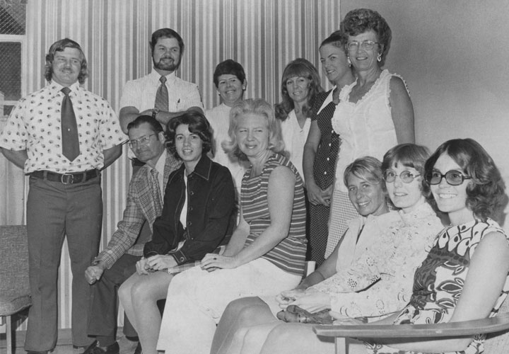 School opened in September 1974 and all the teachers at Idyllwild Elementary School were in good spirits. Standing, from left, are Joe Picchiottino, Jerry Coulter, Martha Foster, Donna Lind, Lynda Roberts and Dorothy Brizendine. Seated, from left, is Principal Nels Carlson, Doris Lombard, Joyce Hatfield, Sharon Schmidt, Laurie Maxwell and Mary Zo Judson.               File photo