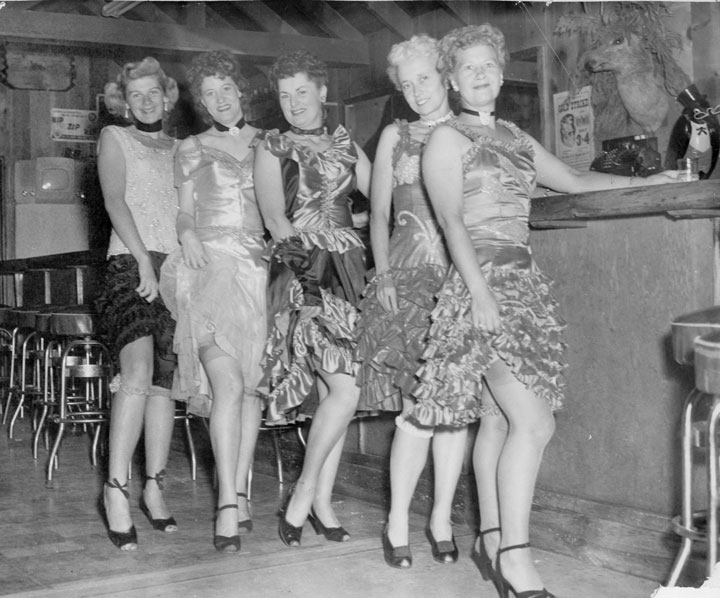 In 1949, a group of dancing girls celebrated Gold Rush Days, a Chamber of Commerce event, at the Fern Valley Lodge. From left, Pat Hair, Mrs. Pitt, Dorothy Michelsen, Bernice Doro and Eleanor Johnson.            File photo/Gary Squier