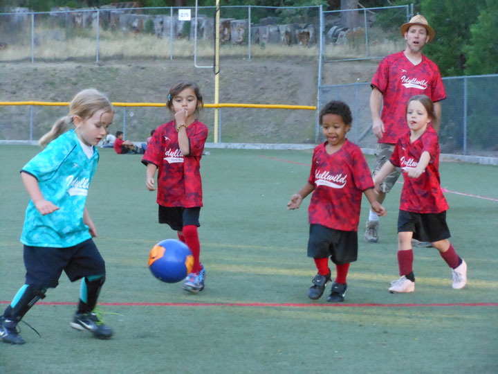 Indigo Dagnall of the Town Crier Storm beats Dora's Red Cheetahs to the ball at Idyllwild School Field last Thursday night in 4-5 year old Town Hall Soccer. Photo by Teresa Garcia-Lande