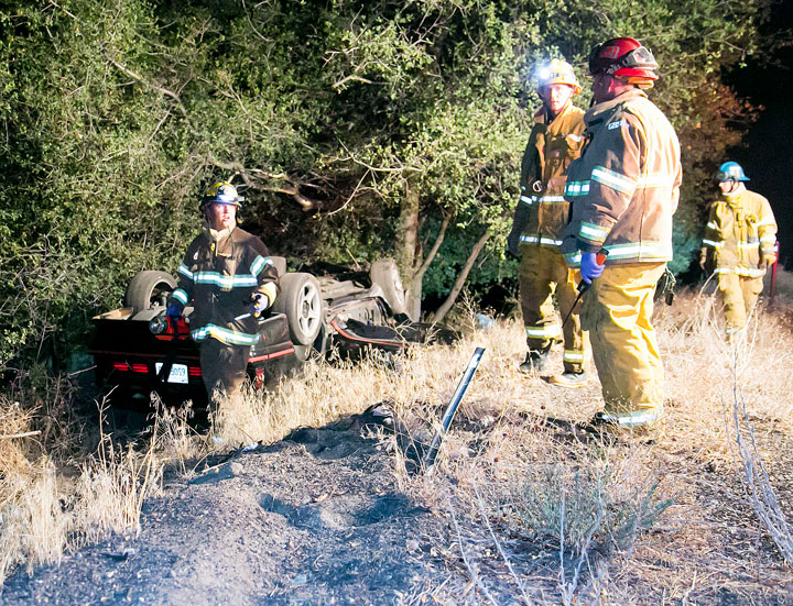 Around 10:45 p.m. Saturday, Oct.11, a vehicle was reported overturned on Highway 243 near Keenwild Forest Service Station. When Idyllwild Fire and Riverside County Fire arrived on scene, no occupants were found. The cause of the crash is under investigation. Photo by Jenny Kirchner