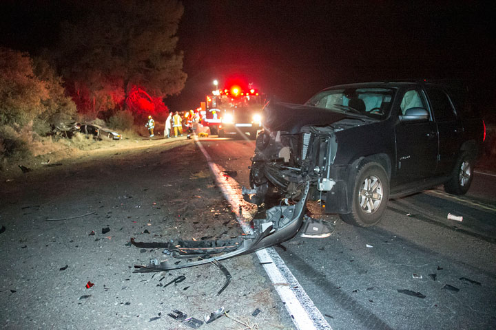 According to California Highway Patrol Officer Mike Murawski, at 8:15 p.m. Sunday,. Marcus Vaughan Prutt, 21, and Kennett Pritchard, 21, both Marines from Camp Pendleton, were traveling westbound on Highway 74 near mile marker 72.50 at 75 to 80 mph in Prutt's 1994 Chevy Camaro. As Prutt pulled into eastbound traffic attempting to pass Frances Ostahowski, 52, of Anza, who also was traveling westbound in her 2004 Dodge Ram, he saw John Trevino, 55, of La Quinta traveling eastbound, with his wife and daughter, in his 2010 GMC Yucon. Prutt slammed on his brakes and attempted to swerve back into the westbound lanes, clipping and pushing the Ram off the highway. Prutt lost control and collided with Trevino head on. Prutt, Ostahowski and Trevino all suffered minor injuries and were treated at the scene, and not transported. Trevino's wife and daughter suffered minor to moderate injuries. Idyllwild Fire Department transported them to Desert Regional Medical Center. Pritchard, who wasn't wearing a seat belt, was ejected from the Camaro. Mercy Air airlifted him to Desert Regional Medical Center with major injuries. Photo by Jenny Kirchner
