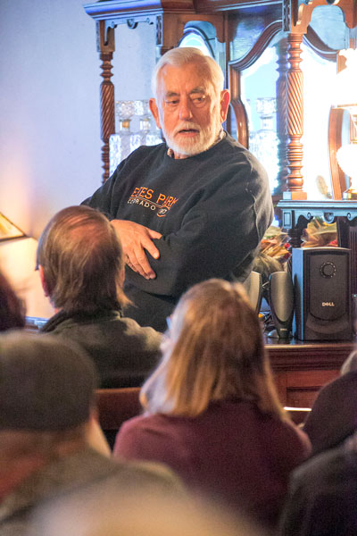 TALKING SPIKDERS: Dr. Peter Bryant was this month's ICC Speaker Series presenter. Bryant spoke about spiders. His subject attracted adults and one 8-year-old spider enthusiast, filling the seats at Silver Pines Lodge Thursday night.   Photo by Jenny Kirchner