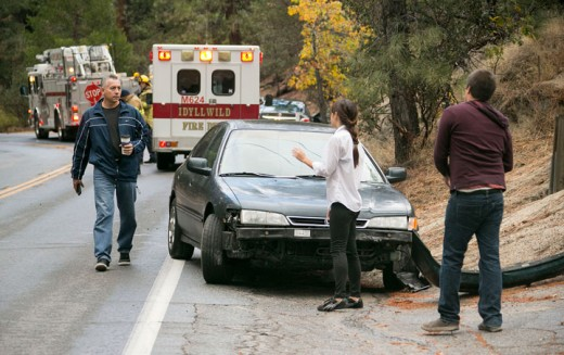 According to California Highway Patrol Officer Mike Murawski, Saturday about 4:20 p.m., Natalie Washkill (center), 19, of Idyllwild, lost control of her 1997 Honda Accord EX as she was traveling southbound on Highway 243 near Jameson Road. Washkill's vehicle t-boned a vehicle carrying Gabriel Salas (left), 46, and Carol Abair, 44, both of Santa Ana, as they were traveling northbound in their 2013 Nissan Altima. All three were uninjured in the collision and were able to drive away from the scene. Washkill was cited for driving without a license.          Photo by Jenny Kirchner