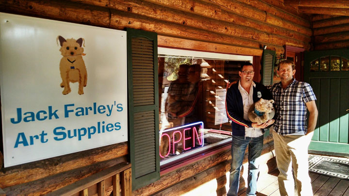 ART SUPPLY STORE OPENS: From left, James David Mancini, Jack Farley (the dog) and Michael Heath stand in front of their new store, Jack Farley's Art Supplies, last Saturday during the grand opening in Fern Valley.  Photo by Katy Kirkpatrick