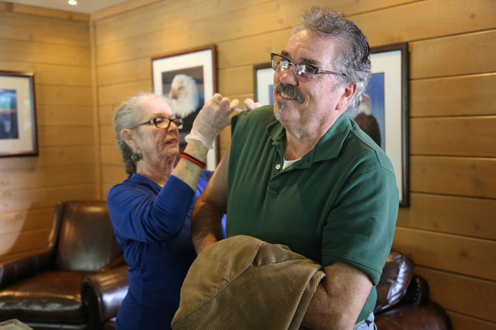 nurse Maggie DiZinno gives Jim Reeves his free flu shot Saturday at the Health Fair sponsored by Fern Creek Medical Center and the Idyllwild HELP Center.  Photo by Cheryl Bayse