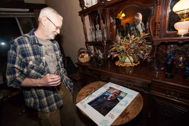MANY HAPPY RETURNS: Mike Ahern, who is moving to Colorado, was feted with a farewell party at Silver Pines Lodge Wednesday, Oct. 29.        Photo by Peter Szabadi