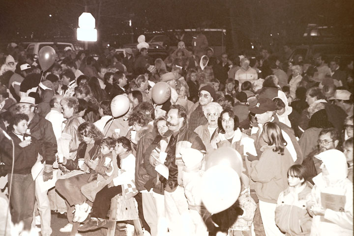 There were an estimated 2,000 participants in the 1992 Tree Lighting Ceremony at what was O'Sullivan's Tavern. Several bonfires lit up the cool night and kept carolers toasty.       File Photo