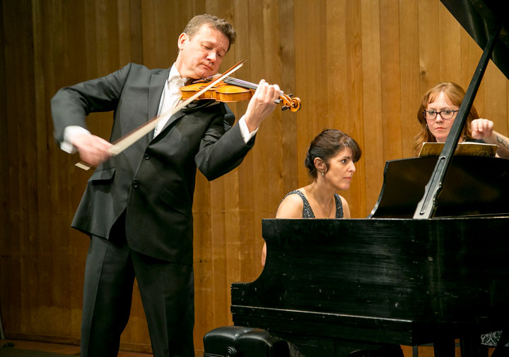 RECITAL: Ivan Zenary on violin and Sandra Shapiro on piano perform at Idyllwild Arts' Stephens Recital Hall Monday night. Idyllwild residents, students and faculty came out to enjoy the duo. Photos by Jenny Kirchner