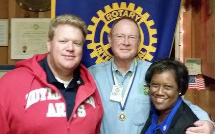 JORDAN AT ROTARY: Idyllwild Rotary and Membership Chair Chuck Streeter (center) welcomes Idyllwild Arts President Pamela Jordan (right) and her husband Christopher Scott (left) as new members of the club at the Oct. 29 meeting at American Legion Post 800. Photo by Steve Espinoza