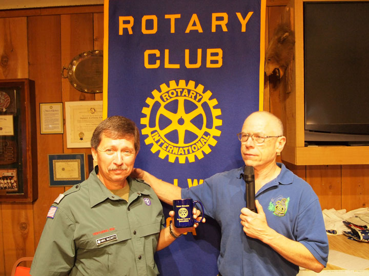 Idyllwild Rotary President-elect Chuck Weisbart (right) thanks Boy Scouts of America Camping Specialist Mike McCarty (left) for speaking at the samemeeting held at American Legion Post 800. McCarty discussed the history of the Emerson Boseker Scout Reservation, the current condition of the camp and environmental changes taking place due to the current drought. Photo by Nathan DePetris