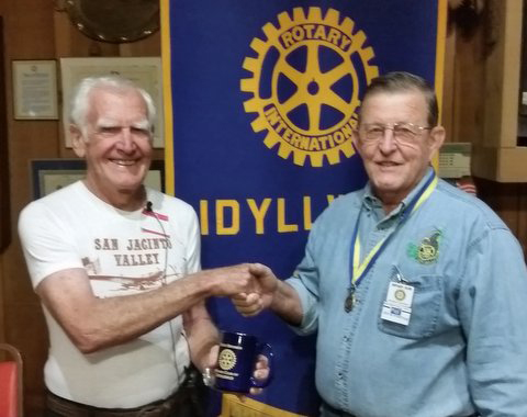 SAN JACINTO MUSEUM: Idyllwild Rotary Club President Rick Foster (right) thanks San Jacinto Museum President John Warneke for speaking at the Oct. 29 meeting at American Legion Post 800 about the record-breaking 1937 Soviet transpolar flight that landed in San Jacinto.