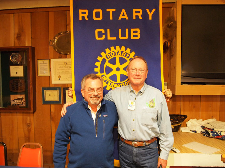 Idyllwild Rotary Membership Chair Chuck Streeter (right) welcomes Joe Mattioli (left) as a new member of the Rotary during its Nov. 12 meeting.