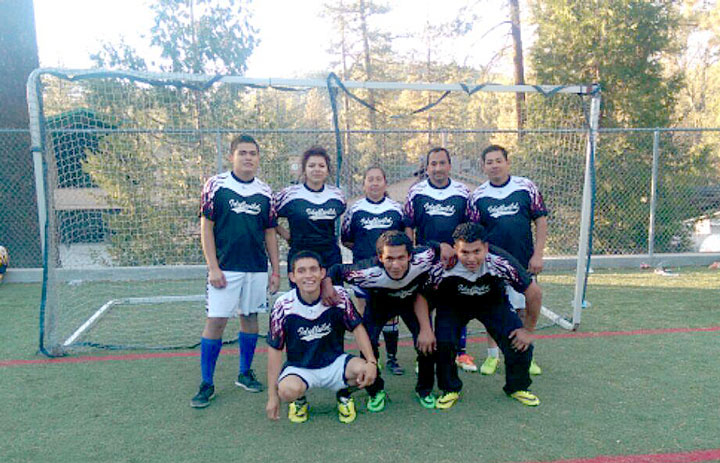 Lumber Mill, the Town Hall Adult Soccer second-place team members are, back row, from left, Kevin Hernandez, Jenny Rivera, Guadalupe Chavez, Salvador Fuentes and Omar Rivera. Front row, from left, Antonio Rincan, Melvin Rivera and Gerver Rivera.     Photo courtesy Richard Mozeleski