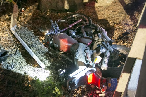 The motorcycle that went through the fence at Idyllwild Pines Camp in February, 2015. The driver was killed in the crash. Photo by Jenny Kircnher