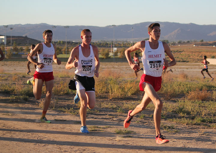 Tanner Torrez (right) and Jayden Emerson (left) of Hemet High School's cross-country team, finished fourth and second respectively in last week's Mountain Pass League Finals. Both Tanner and Jayden will compete in next week's California Interscholastic Federation Southern Section Cross County Championships to run Saturday, Nov. 15 at Mt. San Antonio College. Tanner is a former Idyllwild resident and Jayden is an Idyllwild resident.   Photos by Jessica Priefer