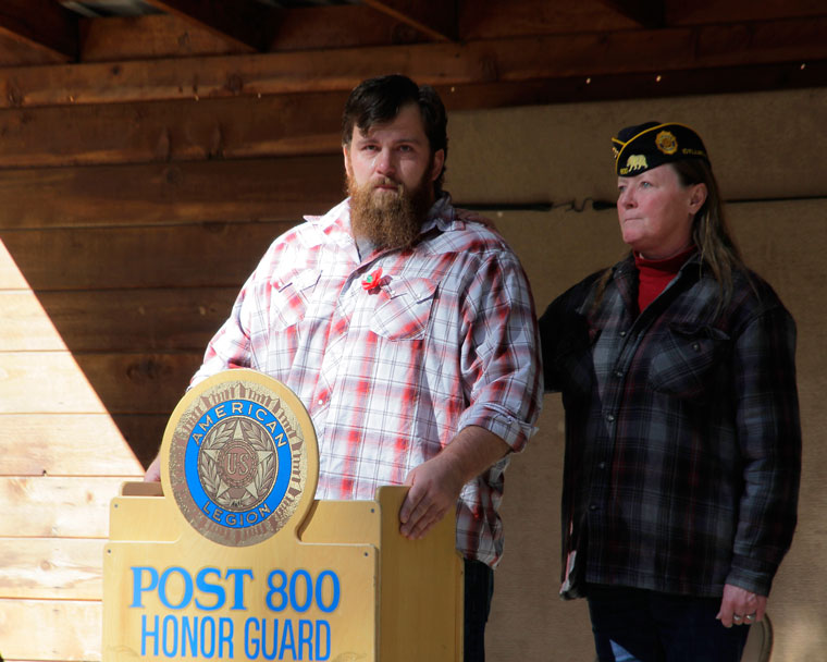 Marine Veteran Paul White, above, speaks to attendees during the American Legion Post 800's Veterans Day Remembrance event on Tuesday, Nov. 11. Photo by John Drake